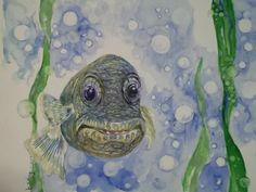 more funny fish for a someday children's book....doodling in watercolors...