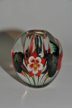 Red & White Columbine Vase by Lotton Studios. American Made. See the designer's work at the 2015 American Made Show, Washington DC. January 16-19, 2015. americanmadeshow.com #vase, #glass, #flowers, #americanmade