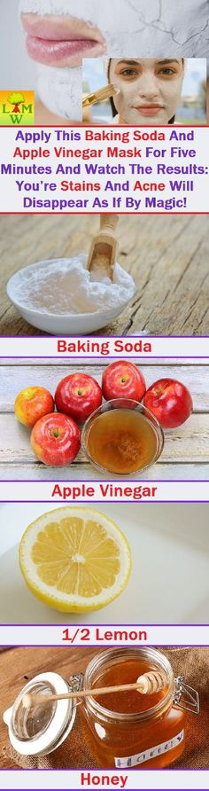 Baking Soda And Apple Vinegar Mask To Reduce Stains and Acne - 14 Proven Homemade Acne Remedies That Cure Acne Fast and On A Budget