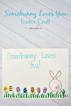 I love Gifts for Grandparents for holidays! Especially handprint and thumbprint crafts! So this Somebunny Loves You is a great Easter craft for kids and also a great gift!