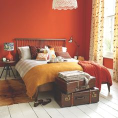 Colour moods and meanings in the home - Bedroom - Orange Orange Bedroom Walls, Orange Accent Walls, Orange Rooms, Accent Wall Bedroom, Bedroom Red, Home Bedroom, Red Bedroom Design, Bedroom Ideas, Red Bedrooms