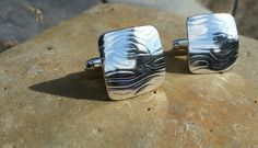 These handcrafted cufflinks have been formed from sterling silver sheet which has been textured to create this wonderful wave design    The