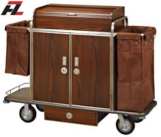 Hotel Metal Guest Room Service Trolley with Drawer-Housekeeping Cleaning Trolley