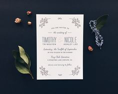 Whimsical Pink and Navy Wedding Invitations by Designed by Jaclyn Printed by Dependable Letterpress