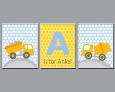 Dump Truck Nursery Art Print  Baby Boy Personalized Name and