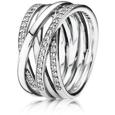 Pandora Sterling Silver & Cubic Zirconia Entwined Ring (530 RON) ❤ liked on Polyvore featuring jewelry, rings, pandora, silver, cz jewelry, stackable band rings, sterling silver stackable rings, sterling silver band rings and sterling silver cz rings
