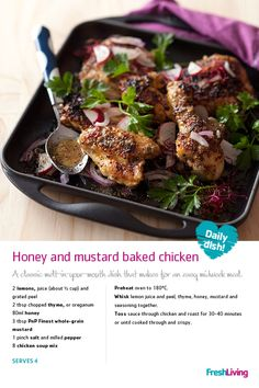 Honey and mustard baked chicken Cheese Dip Recipes, Chicken Salad Recipes, Midweek Meals, Easy Meals, South African Recipes, Honey Mustard, Southern Recipes, Baked Chicken, Soul Food