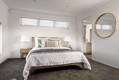 #masterbedroom #bedroom #mastersuite #woodenbed #coastalbedroom #circlemirror
