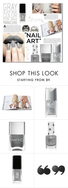 """""""Grey ~manicure~"""" by dolly-valkyrie ❤ liked on Polyvore featuring beauty, Christian Dior, Nails Inc., Topshop, JINsoon and Kate Spade"""