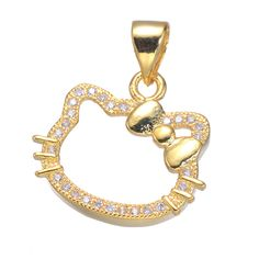 f935b8a72 High Quality Cute Zircon Hello Kitty Floating Charms For Necklaces Jewelry  Making Diy Micro Pave Animal