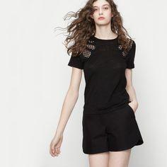T-shirt with macramé details - Tops - Maje.com