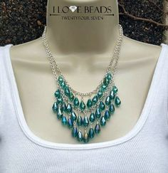 emerald green teardrop crystal statement necklace-double stranded necklace-crystal necklace-green crystal necklace-teardrop necklace