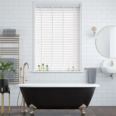 White Wooden Blinds, Affordable Range of Tailored Blinds Bathroom Window Curtains, Bathroom Blinds, Bathroom Windows, Bathrooms, Loft Bathroom, Kitchen Blinds, Kitchen Doors, White Faux Wood Blinds, Grey Blinds