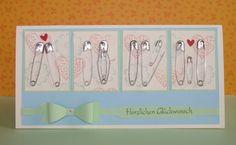 Babykarte, Glückwunsch Karte, Schrift von pp-Stamps, Bow Builder Punch Stampin' Up!