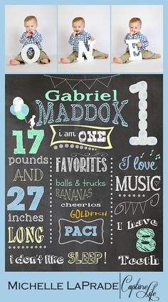 Photo by Michelle LaPrade Photography Boy, 1 year birthday collage poster, custom chalk board, blue, mint green, one year photo ideas