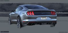 In sketches, many of the 2018 Mustang's new attributes regarding performance are emphasized