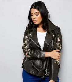 Curves Black Floral Embroidered Leather-Look Biker Jacket | New Look