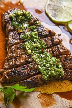 Chimichurri Steak makes for an excellent steak dinner! You can make skirt steak chimichurri or flank steak with chimichurri! Don't like steak? Try out our Chimichurri Chicken! Both are delicious recipes and perfect for Cinco De Mayo too. Skirt Steak Recipes, Flank Steak Recipes, Grilled Steak Recipes, Beef Steak, Grilling Recipes, Beef Recipes, Cooking Recipes, Steak Ideas, Water Recipes