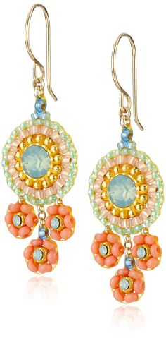 Miguel Ases Coral and Swarovski Triple Circle Small Drop Earrings