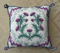 Thistle Cross Stitch Pin Cushion Kit by ColeshillCollection on Etsy https://www.etsy.com/listing/187250200/thistle-cross-stitch-pin-cushion-kit