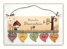 Türschild Namensschild  Eule mit Herz in Pastell von byAnnoDomini auf DaWanda.com