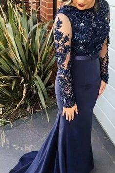 Long Sleeves Prom Dresses,Navy Blue Lace Graduation Dress,Mermaid Long Sleeves Lace Bridesmaid Dresses,V-back Navy Blue Lace Evening Dress Mermaid Prom Dresses Lace, Navy Blue Prom Dresses, Blue Evening Dresses, Prom Dresses Long With Sleeves, Beaded Prom Dress, Lace Bridesmaid Dresses, Prom Party Dresses, Lace Dress, Dress Long