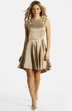 LABEL by five twelve Embellished Yoke Charmeuse Fit & Flare Dress available at #Nordstrom
