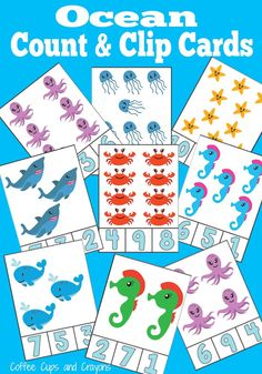 Free Ocean Count and Clip Cards. Adorable way to practice counting, number recognition, one to one correspondence... so many things!