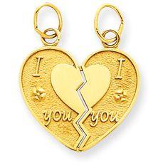 14k I Love You break apart heart Charm #Heart   #Love   #Gift   #Birthday   #IceCarats
