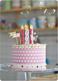 How to make a paper cake wish washi tape flags