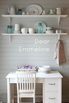 kitchen re-do part one from Dear Emmeline.. love the shelves and that wall!