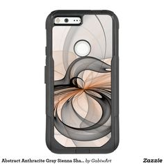Abstract Anthracite Gray Sienna Shapes Fractal Art OtterBox Commuter Google Pixel XL Case