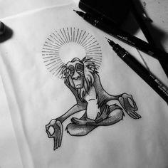 Rafiki meditating on The top of my right hand -future tat