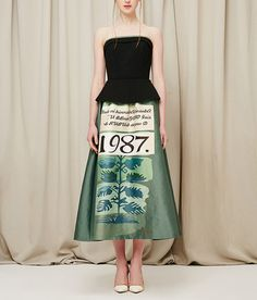 Fine Art Collection designed black and green floral plant theme strapless cocktail dress