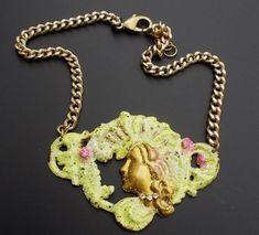 Bold Chunky Necklace Art Nouveau Style  Necklace by LilisGems