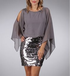 Alec-Silver Chiffon and Sequin Dress