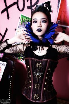 Hirari Ikeda wearing a corset from the Tokyo boutique Nude N Rude.