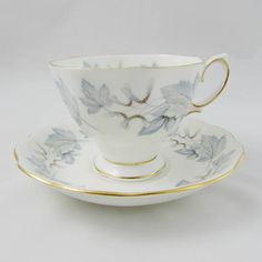 Royal Albert Silver Maple Tea Cup and Saucer, Vintage Bone China