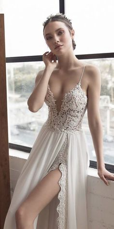 27 Unique & Hot Sexy Wedding Dresses ❤️ flowy straight deep v neck lace spaghetti straps high slit sexy wedding dresses julie vino ❤️ See more: http://www.weddingforward.com/sexy-wedding-dresses-ideas/ #weddingforward #wedding #bride #bridalgown