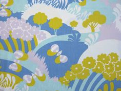 Psychedelic landscape and butterfly print twin single bed flat sheet - French…