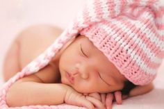 Spearmint LOVE - Striped Baby Beanie, Pink