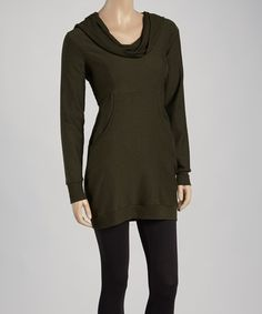 Look at this #zulilyfind! Grape Leaf Heathered Terry Cowl Neck Tunic by Pink Lotus #zulilyfinds