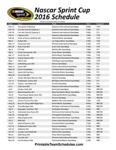 NASCAR Sprint Cup 2016 Schedule. Print Here - http://printableteamschedules.com/NASCAR/sprintcupseriesschedule.php
