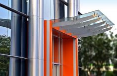 commercial building entrance canopies   office building entry with metal and glass awning