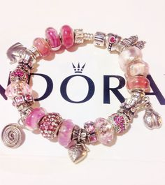 Pandora charm bracelet Authentic beautiful pink with by eurodazzle, $160.00