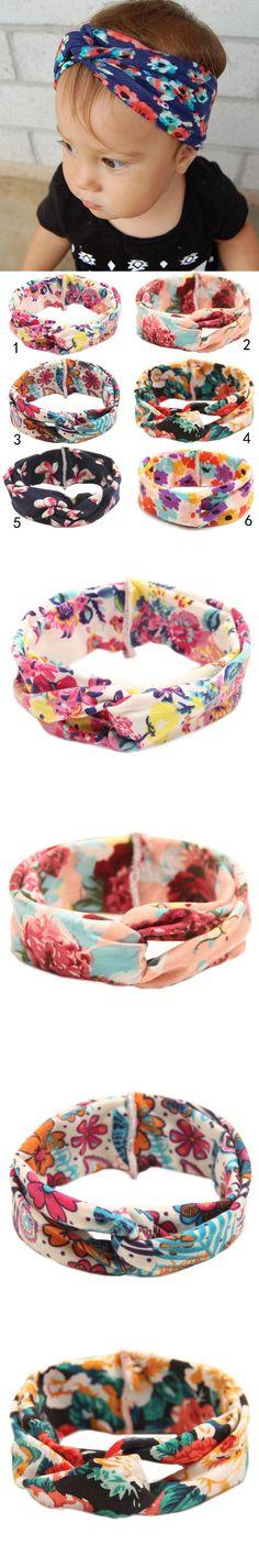 Twisted Newborn Baby Headband Printed Children Baby Girls Hair Accessories Artificial Cross Turban Hairband Headwraps $1.76