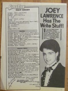 Joey Lawrence, Full Page Vintage Clipping Joey Lawrence, Vintage Clip, Teen, Writing, Stars, Sterne, Being A Writer, Star
