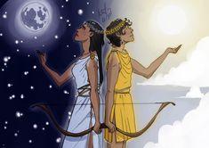 Artemis and Apollo - Moon and Sun Art Print by kat-anni - X-Small Artemis Art, Apollo And Artemis, Artemis Goddess, Greece Mythology, Greek Mythology Gods, Greek Gods And Goddesses, Greek Goddess Art, Greek Art, Apollo And Hyacinth