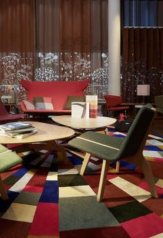 Attractive Cute And Colorful Hotel Interior Design In Switzerland: Modern Green And Wooden Chairs In Details Colorful Interior Design, Best Interior Design, Colorful Interiors, Color Interior, Luxury Interior, Interior Ideas, Interior Decorating, Designer Hotel, Luxury Hotel Design