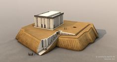 """Reconstruction of the White Temple on the Anu Ziggurat, Uruk. """"The building had white plastered walls, which were divided by niches, multiple postaments, maybe shelves in an adjacent room as well as multiple staircases, which led to the roof or to a second storey. The erection of the building was radiocarbon-dated between 3517 and 3358 BC."""""""
